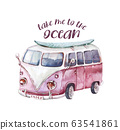 Watercolor ocean surf beach, adventure, bike and motorollier, fun holiday activity, tropical travel illustration. Island summer, retro car and surfboard. 63541861