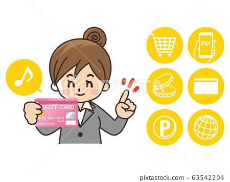 無現金支付女商人信用卡購物 63542204