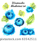 Set of hand drawn watercolor blueberries on white 63542511