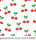 Cherry seamless vector pattern. Hand drawn cherries on dotted black and white background. Painted 63543892