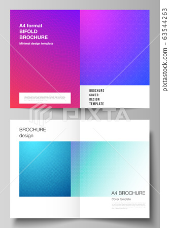 Vector layout of two A4 format modern cover mockups design templates for bifold brochure, magazine, flyer, booklet, annual report. Abstract geometric pattern with colorful gradient business background 63544263