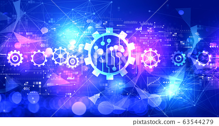 Automation concept with technology light background 63544279
