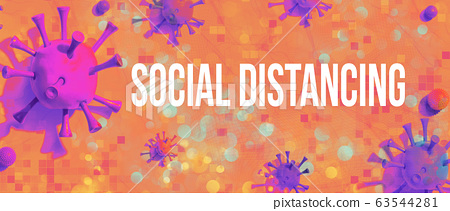 Social Distancing theme with viral objects 63544281