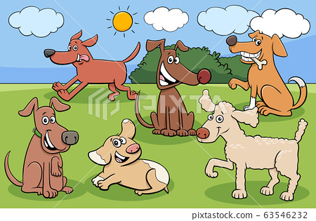 cartoon dogs and puppies funny characters group 63546232