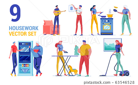 Housework Activity Woman and Man Character Set. 63546528