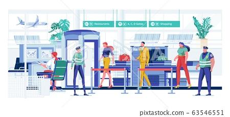 Passenger Undergo Safety Check before Boarding. 63546551