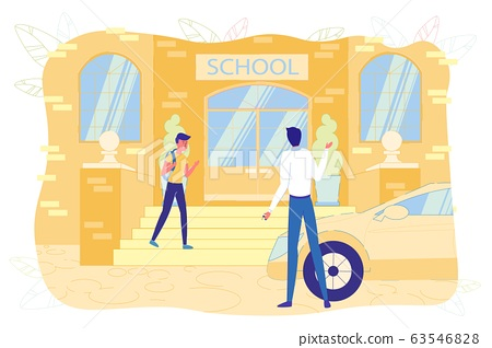 Parent Hold Child to School at Lessons Beginning. 63546828
