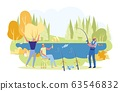 Fishermen Sitting at River Bank with Rods Vector. 63546832