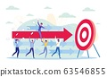 Woman Manager Sitting on Arrow to Hit Target. 63546855