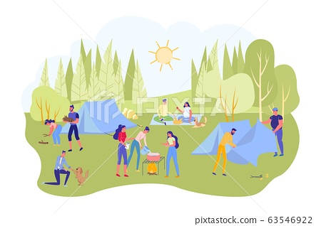 Summer Camping Background with Diverse People. 63546922