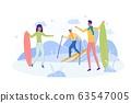 Ski Trip with Best Friends, Flat Illustration. 63547005
