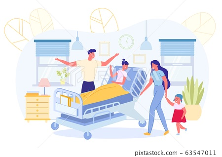 Parents with Younger Child Visit Sick Girl in Ward 63547011