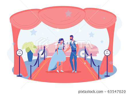 Young Couple, Celebrities, Posing on Red Carpet 63547020