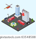 Building in fire vector illustration isometric. Emergency firefighting rescue service fire engine, helicopter. 63548588
