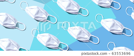White surgical masks overhead view 63553696