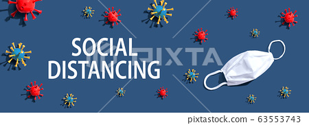 Social Distancing theme with virus and a white mask 63553743