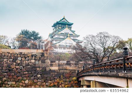 Osaka Castle and bridge in Japan 63554962
