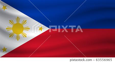Waving flag of Philippines. Vector illustration 63556965
