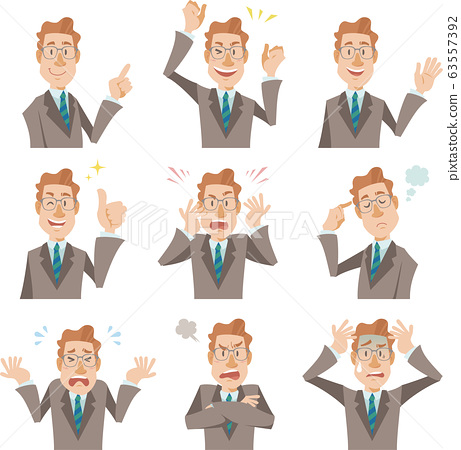 Bust up businessman wearing suit and glasses, 9 different expressions 63557392