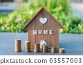 Home loan with coin graph.Refinance your house with copy space.Home mortgage credit. 63557603