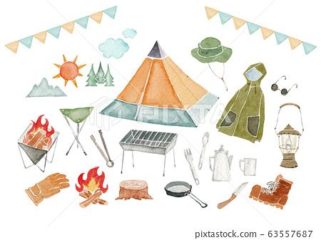 戶外露營圖標設置水彩插圖 63557687