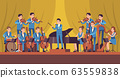 Symphony Orchestra. Classical music concert, conductor and musicians with instruments violin, flute and cello, trumpet and harp vector concept 63559838