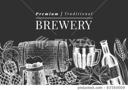Beer glass mug and hop design template. Hand drawn vector pub beverage illustration on chalk board. Engraved style. Vintage brewery illustration. 63560009
