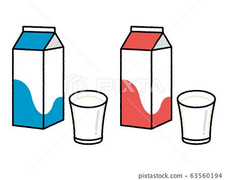 牛奶包和杯子 63560194