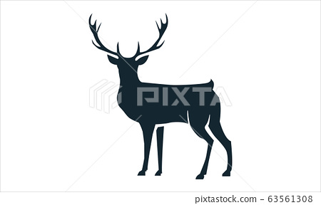Vector black silhouette horned deer icon side view 63561308