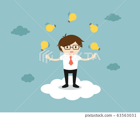 Business concept, businessman juggling many light 63563031
