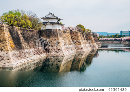 Osaka castle with cherry blossoms of spring in Japan 63565426