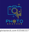 Photographer logo icon outline stroke with melt camera design illustration isolated on dark blue background with Photographer text and copy space, vector eps 10 63566337