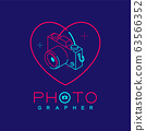 3D isometric Photographer logo icon outline stroke in heart love frame made from neck strap camera design illustration isolated on dark blue background with Photographer text and copy space, vector 63566352