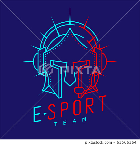 Esport streamer logo icon outline stroke, Joypad or Controller gaming gear with headphones, microphone and radius helmet armor design on blue background with Esport Team text and copy space, vector 63566364