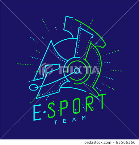Esport streamer logo icon outline stroke, Joypad or Controller gaming gear with headphones, microphone and radius helmet armor design on blue background with Esport Team text and copy space, vector 63566366