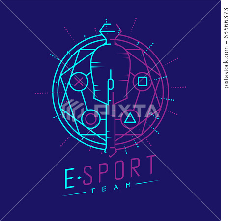 Esport logo icon outline stroke in magic circle frame, mouse gaming gear scepter magical design illustration isolated on dark blue background with Esport Team text and copy space, vector eps 10 63566373