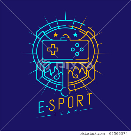 Esport logo icon outline stroke in shield radius frame, Joypad or Controller gaming gear with axe design illustration isolated on dark blue background with Esport Team text and copy space, vector eps 63566374