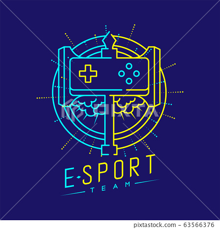 Esport logo icon outline stroke in shield radius frame, Joypad or Controller gaming gear with hammer design illustration isolated on dark blue background with Esport Team text and copy space, vector 63566376