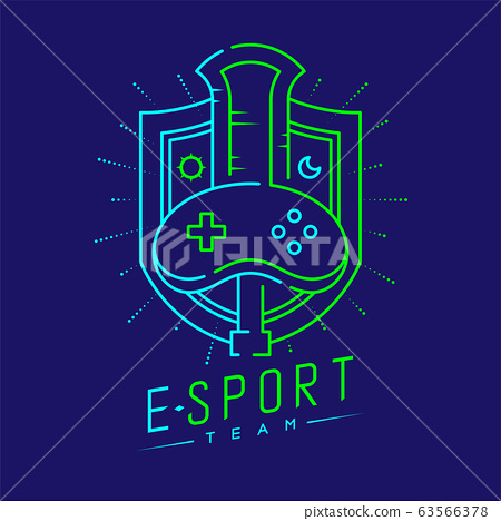 Esport logo icon outline stroke in shield radius frame, Joypad or Controller gaming gear with Sword design illustration isolated on dark blue background with Esport Team text and copy space vector eps 63566378