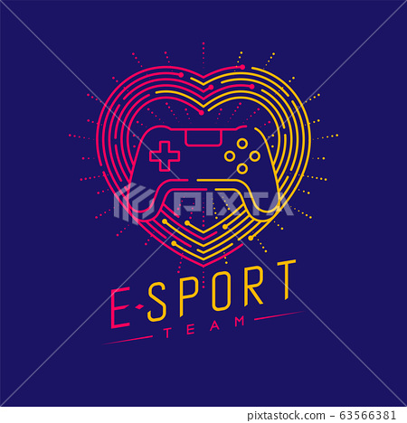 Esport logo icon outline stroke in heart love frame and radius, Joypad or Controller gaming gear design illustration isolated on dark blue background with Esport Team text and copy space, vector eps 63566381