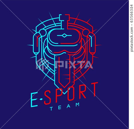 Esport logo icon outline stroke in radius shield frame, VR head set gaming gear and controller design illustration isolated on dark blue background with Esport Team text and copy space, vector eps 10 63566384