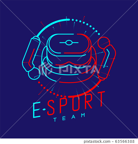 Esport logo icon outline stroke in radius controller frame, VR head set gaming gear design illustration isolated on dark blue background with Esport Team text and copy space, vector eps 10 63566388
