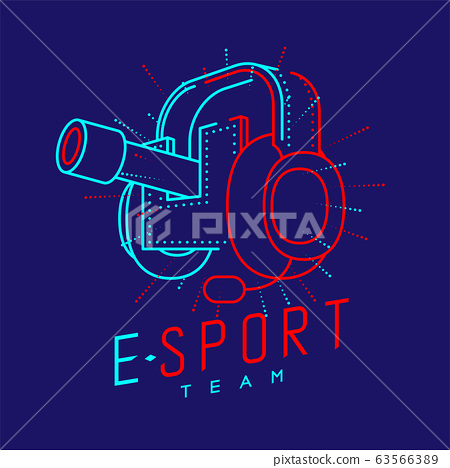Esport streamer logo icon outline stroke, Headphones gaming gear with microphone and radius cannon design isolated on blue background with Esport Team text and copy space, vector eps 10 63566389