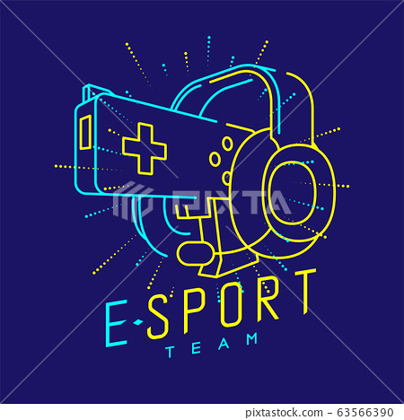 Esport streamer logo icon outline stroke, Joypad or Controller gaming gear with headphones, microphone and radius gun design isolated on blue background with Esport Team text and copy space, vector 63566390