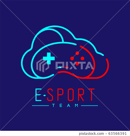 Esport logo icon outline stroke, retro Joypad or Controller gaming gear with cloud design illustration isolated on dark blue background with Esport Team text and copy space, vector eps 10 63566391