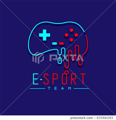 Esport logo icon outline stroke, retro Joypad or Controller gaming gear melt design illustration isolated on dark blue background with Esport Team text and copy space, vector eps 10 63566393