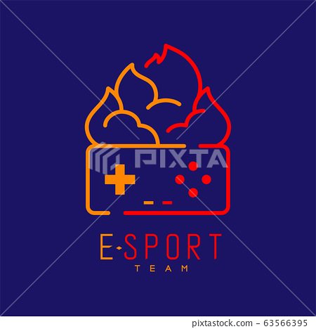 Esport logo icon outline stroke, retro Joypad or Controller gaming gear with fire design illustration isolated on dark blue background with Esport Team text and copy space, vector eps 10 63566395