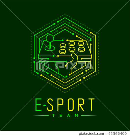 Esport logo icon outline stroke in hexagon frame, Arcade fighting gaming gear stick with hand design illustration isolated on dark green background with Esport Team text and copy space, vector eps 10 63566400