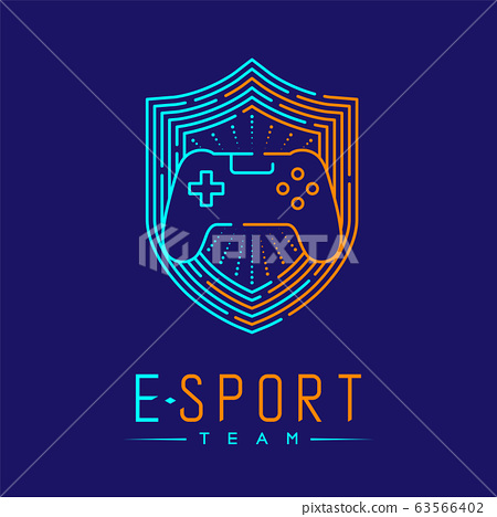 Esport logo icon outline stroke in shield frame, Joypad or Controller gaming gear with hand design illustration isolated on dark blue background with Esport Team text and copy space, vector eps 10 63566402