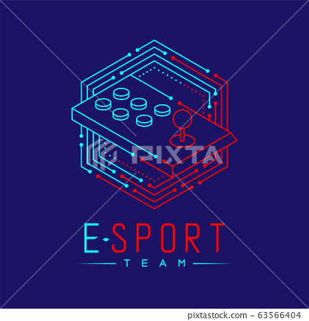 Esport logo icon outline stroke in hexagon frame, Arcade fighting gaming gear stick design illustration isolated on dark blue background with Esport Team text and copy space, vector eps 10 63566404